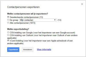 Google contactpersonen exporteren