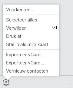 iCloud actiemenu